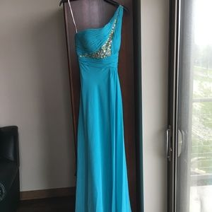 Turquoise Blue One Shoulder Prom Dress